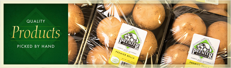 Premier bella mushrooms in their packaging