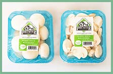 packaged whole & sliced white mushrooms